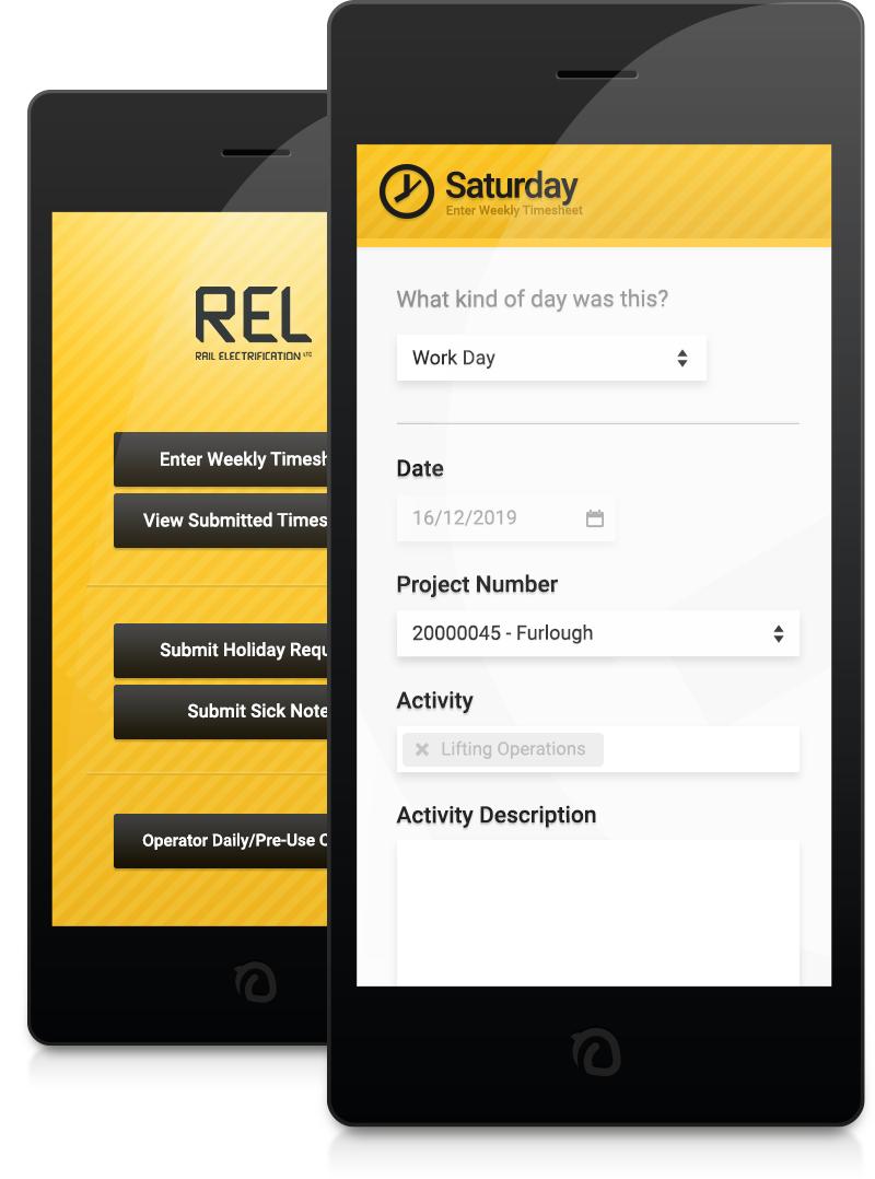 Example Timesheet mobile app customised for Rail Electrification Ltd